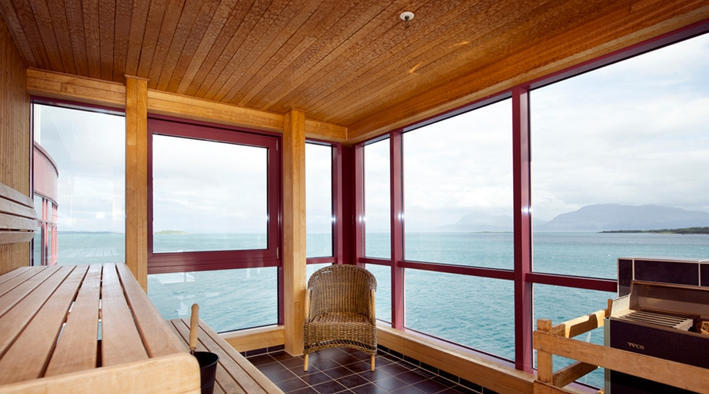 Sauna with stunning sea view at Articus Hotel in Harstad