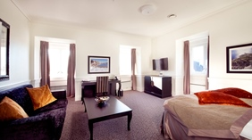 Expansive standard deluxe double hotel room at Atlantic Hotel in Sandefjord