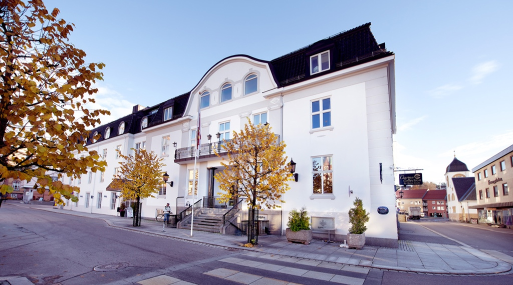 The facade of the Atlantic Hotel in Sandefjord