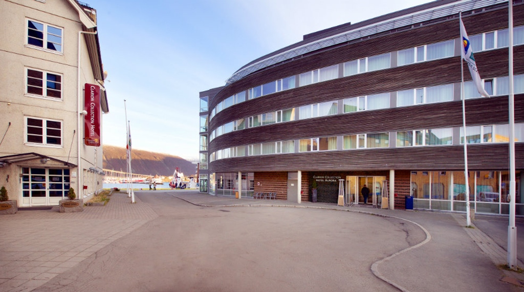 The Aurora Hotel front by the inlet in Tromso