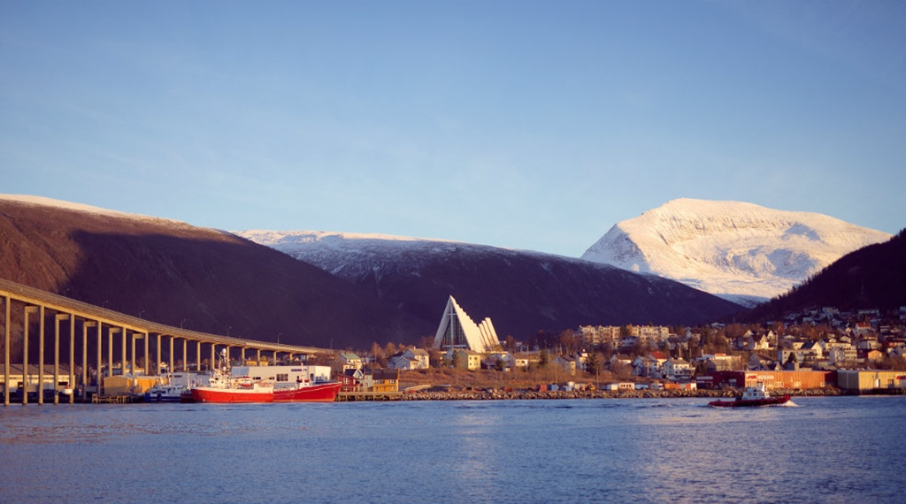 Astonishing view of the inlet and mountains from the Aurora Hotel in Tromso
