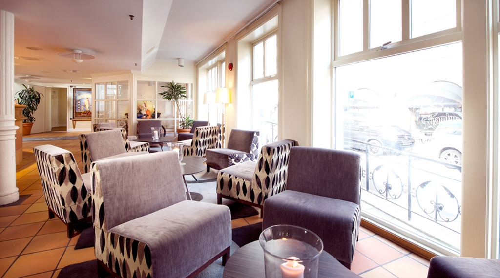 Cosy Lobby Area At Bakeriet Hotel In Trondheim