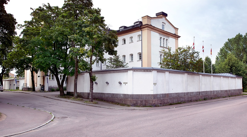 The facade of the old Varmland prison - now Hotel Bilan in Karlstad