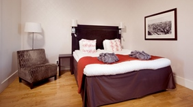 Stylish superior double room at Bolinder Munktell Hotel in Eskilstuna