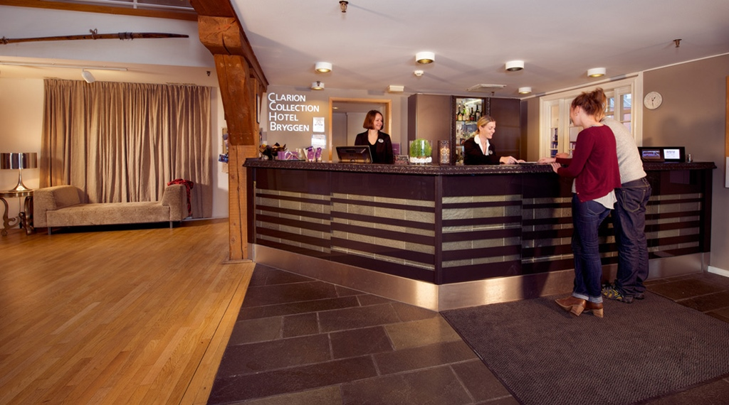 Spacious and welcoming reception at Bryggen Hotel in Alesund
