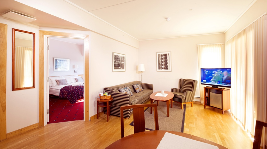 Well-furnished and bright suite at Bryggeparken Hotel in Skien