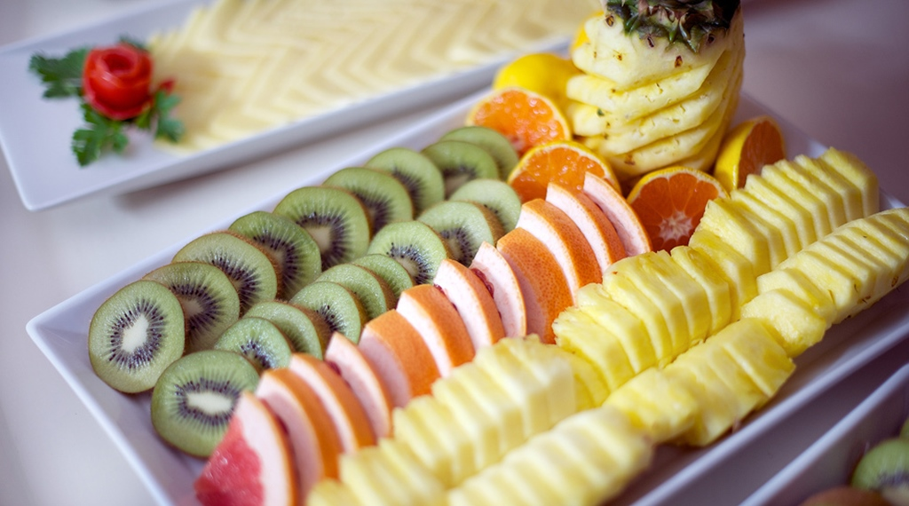 Delicious fruit buffet at Cardinal Hotel in Vaxjo