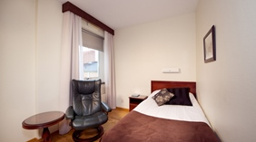 Single hotel room at Cardinal Hotel in Vaxjo