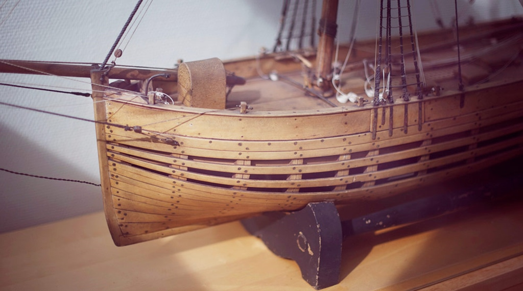 Historical rustic model ship at the Fregatten Hotel in Varberg