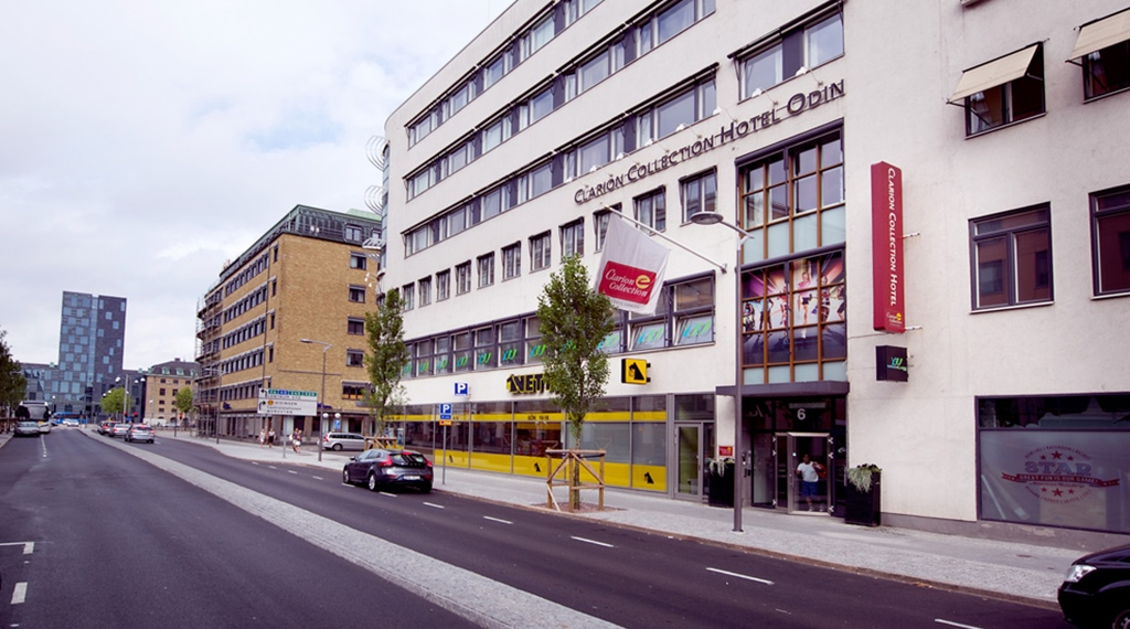 The facade and location of the Odin Hotel in Gothenburg