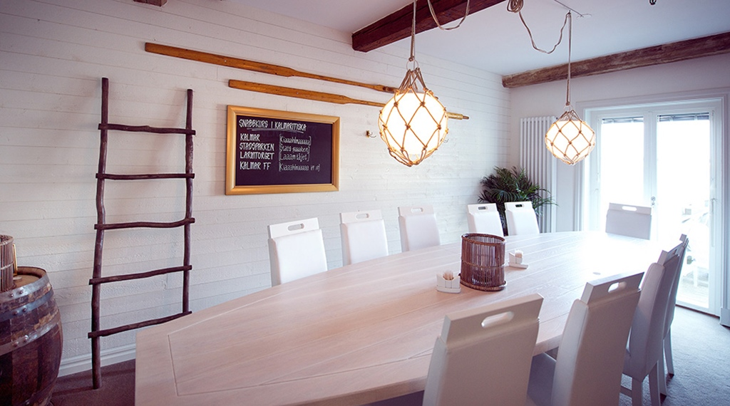 Rustic meeting room designed with a maritime theme at Packhuset Hotel in Kalmar