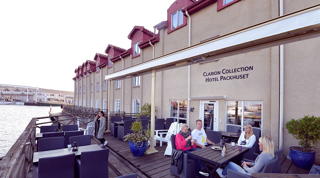 The facade and location by the harbour at Packhuset Hotel in Kalmar