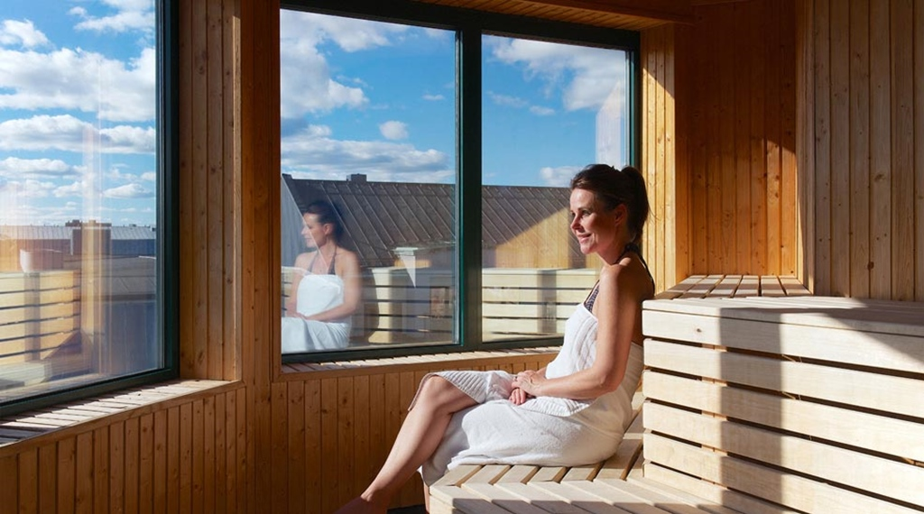 The spa facilities include a relaxing sauna at Plaza Hotel in Karlstad