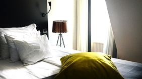Bright and stylish moderate double hotel room at Plaza Hotel in Karlstad