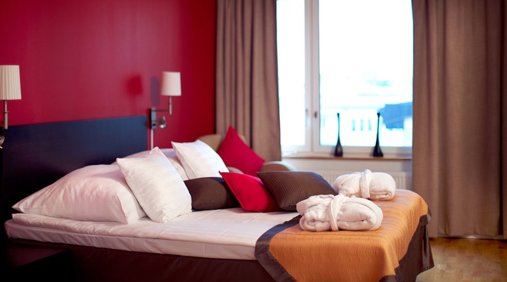 Trendy and comfortable bed in double suite at Tapto Hotel Stockholm