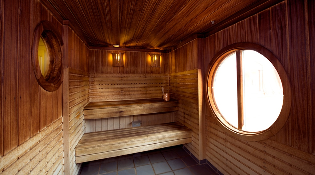 Tranquil traditional sauna at Uman Hotel in Umea