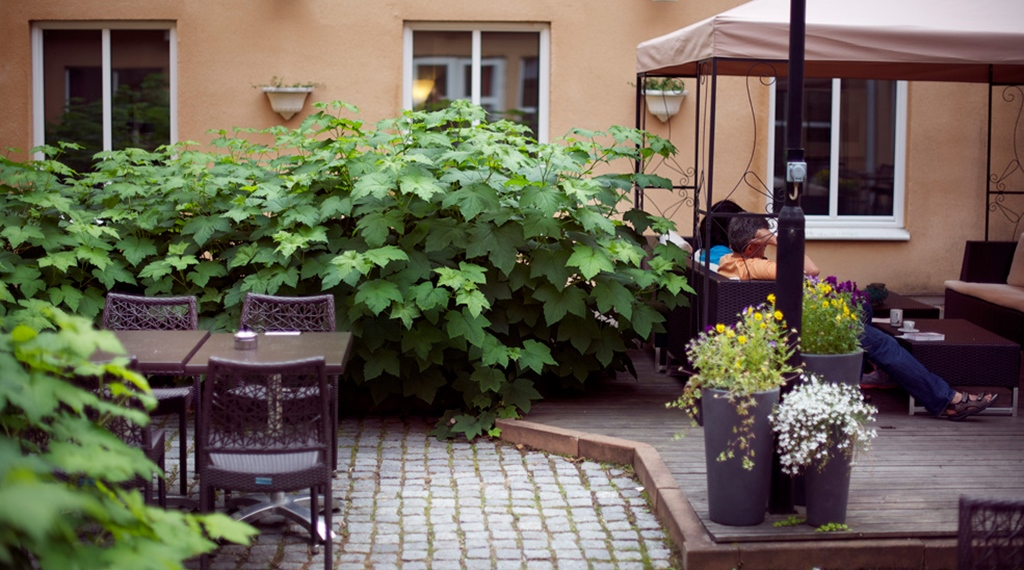 Green outdoor surrounding and comfortable seating at Uman Hotel in Umea