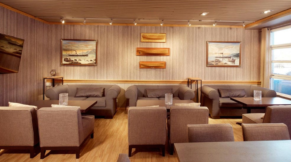 Peaceful lobby with maritime theme at With Hotel in Tromso