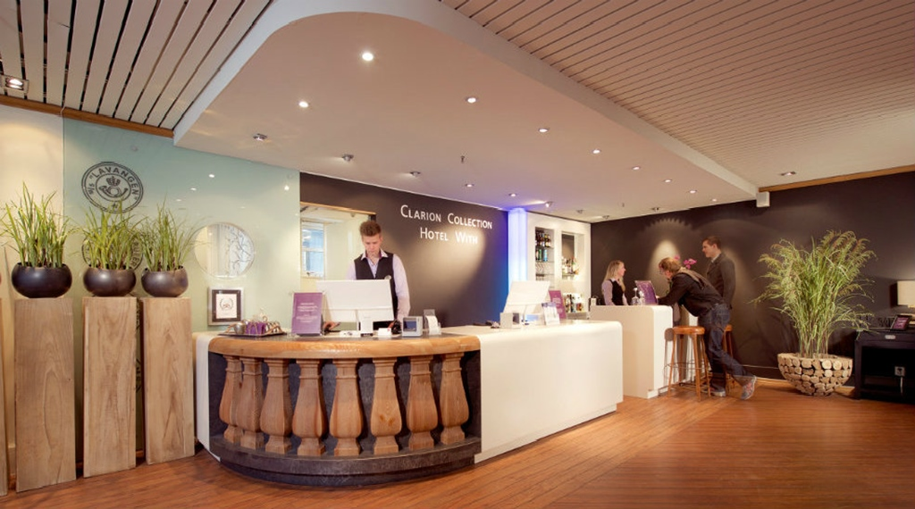 Hip and spacious reception at With Hotel in Tromso