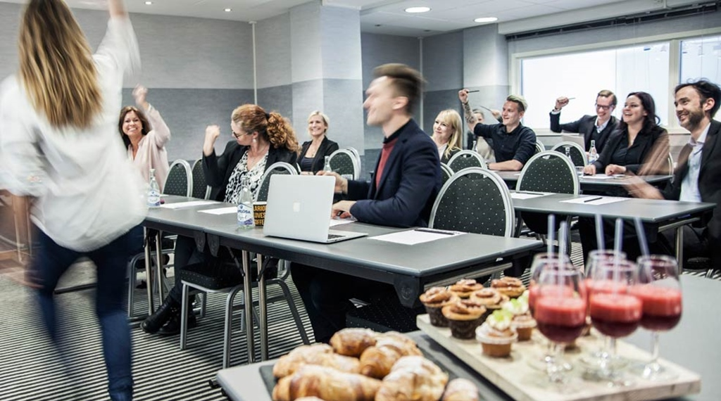 Large and modern conference room with delicious refreshments at Grand Hotel Helsingborg