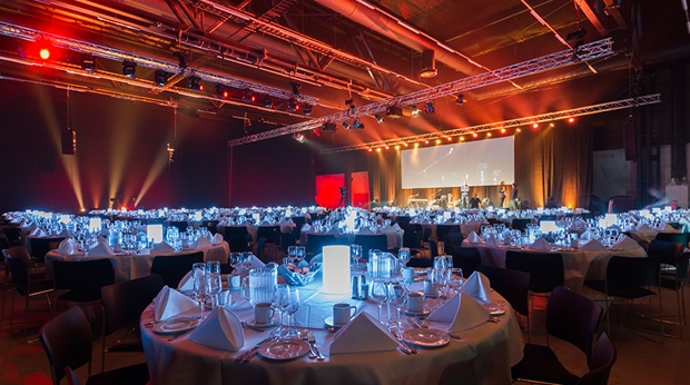 Catering and concert in The Qube congress hall at Oslo Airport Congress & Hotel in Oslo