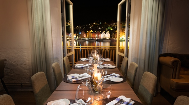 Restaurant with the best view of the harbour, inlet and mountains at Admiral Hotel in Bergen
