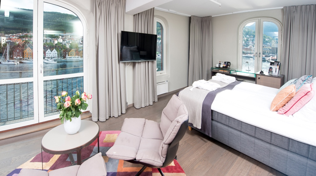 Stylish deluxe room by the harbour's edge with a great view at Admiral Hotel in Bergen