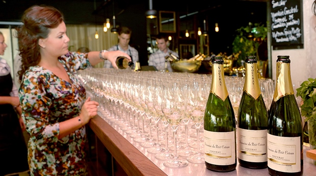 Champagne served at the bar during an event at Amaranten Hotel in Stockholm