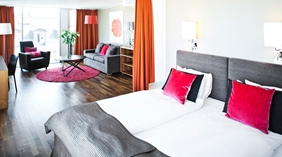 Extensive superior suite with separate living room area at Amaranten Hotel in Stockholm