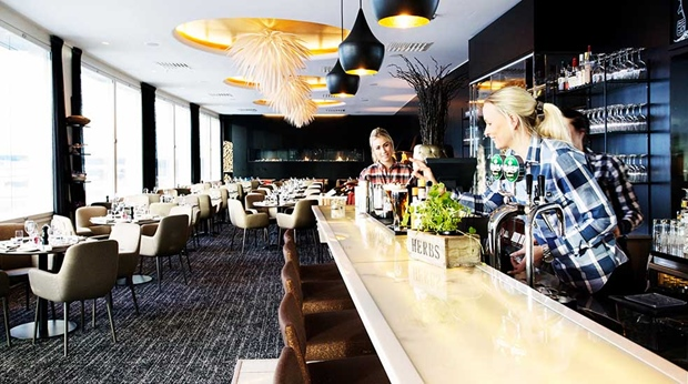 Large and modern hotel bar at Arlanda Hotel in Stockholm