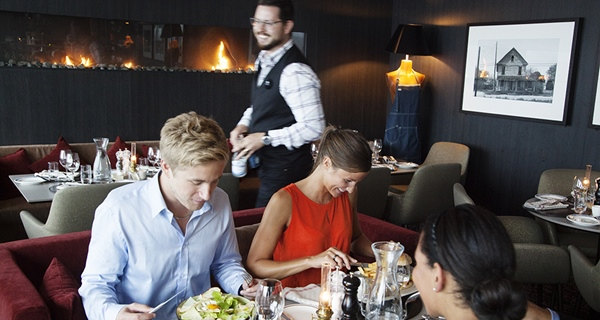 Dining in the stylish restaurant at Arlanda Hotel in Stockholm