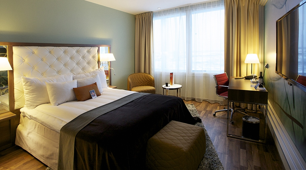 Elegant and well-designed superior double hotel room at Arlanda Hotel in Stockholm