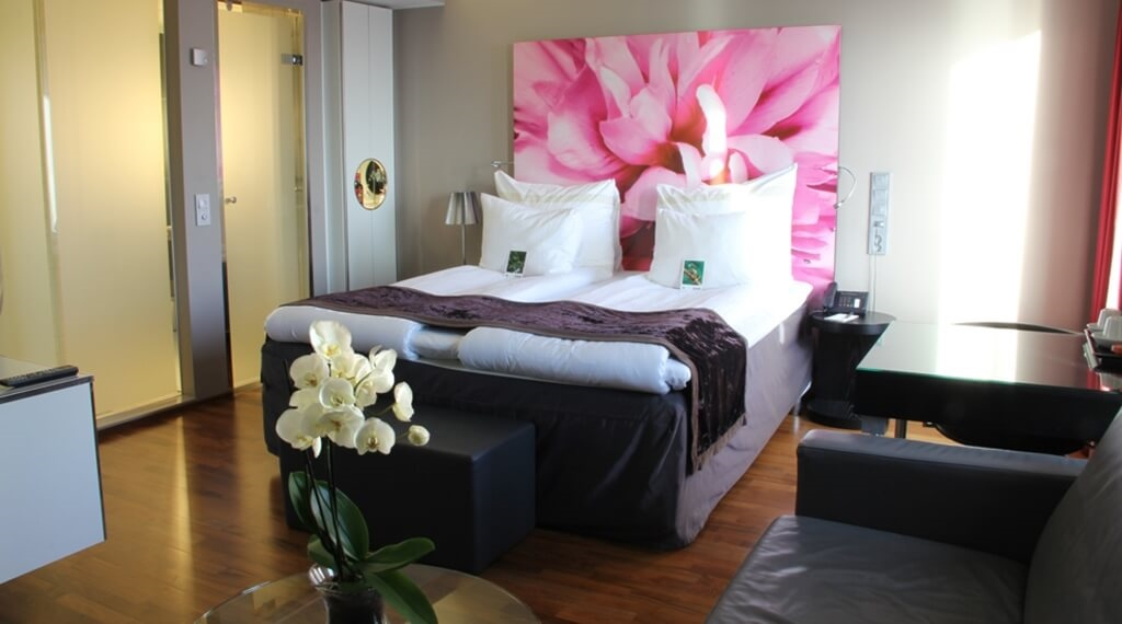 Modern and spacious double hotel room at Bergen Airport Hotel in Bergen