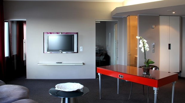 Suite with spacious and well-equipped living room at Bergen Airport Hotel in Bergen