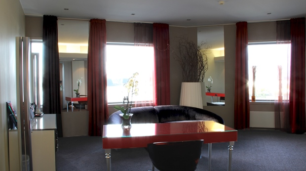 Suite with large and bright living room area at Bergen Airport Hotel in Bergen