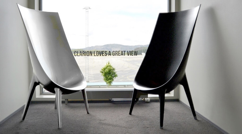 The interior design is characterised by several designer chairs at Bergen Airport Hotel in Bergen