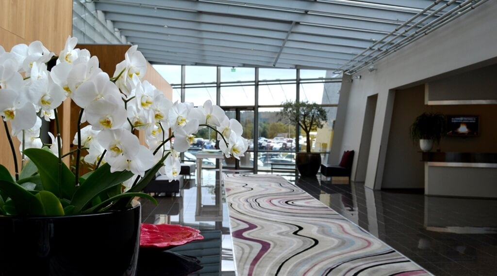 Large and bright conference lobby at Bergen Airport Hotel in Bergen