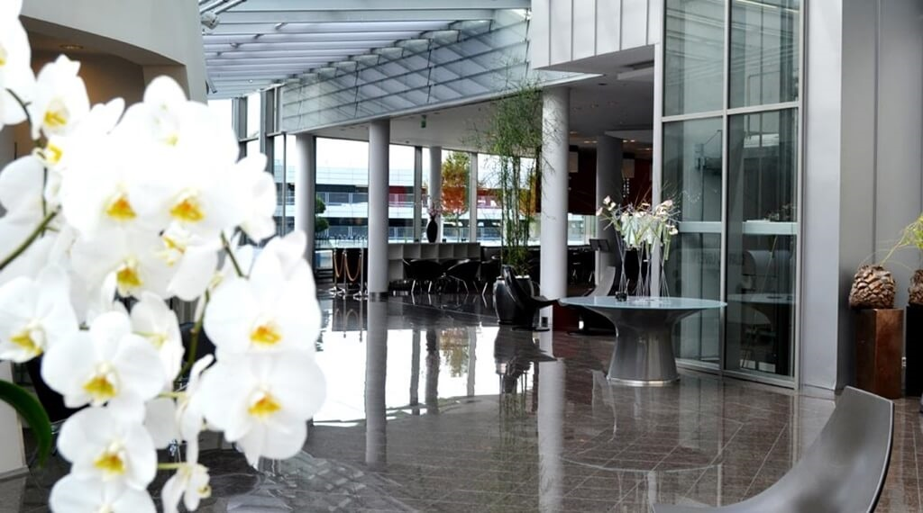 Fashionable and bright lobby at Bergen Airport Hotel in Bergen