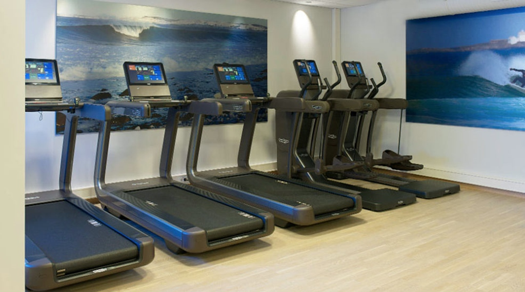 The gym facilities includes state of the art fitness machines at Energy Hotel in Stavanger