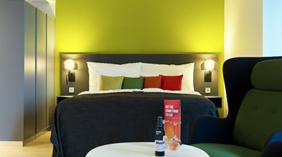 Colourful and well-designed double room at Energy Hotel in Stavanger