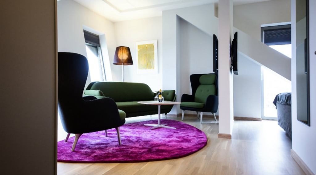 Hotel living room with classy designer furniture at Energy Hotel in Stavanger