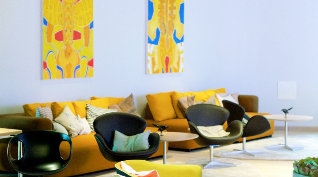 Colourful and well-furnished lobby at Energy Hotel in Stavanger