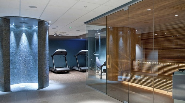 Stylish spa area including a sauna and gym at Ernst Hotel in Kristiansand