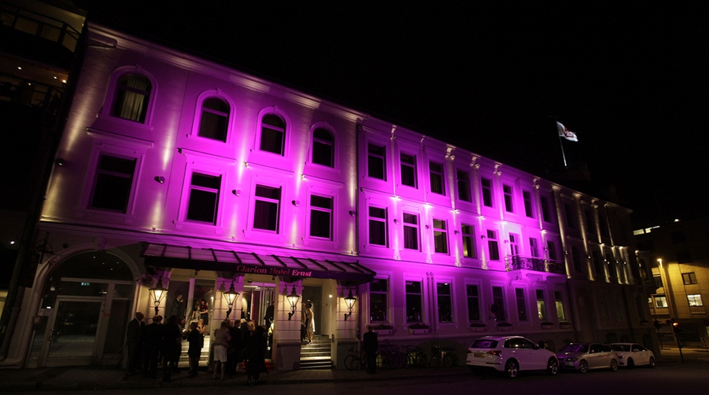 Facade and entrance at Ernst Hotel in Kristiansand