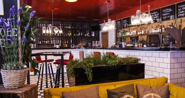 Stylish hotel bar at Gillet Hotel in Uppsala