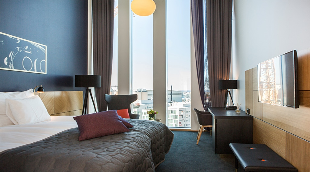 Luxurious superior double hotel room with an amazing view at Malmo Live Hotel in Malmo