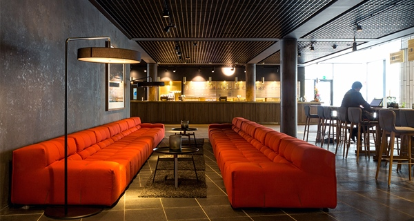 Large, hip and stylish lobby at Malmo Live Hotel in Malmo