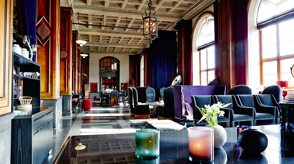 "The impressive ""post office hall"" turned into a hotel lounge at Post Hotel in Gothenburg"