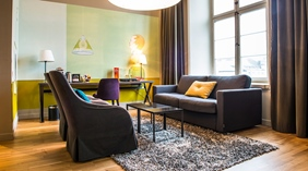Classy and comfortable suite living room at Post Hotel in Gothenburg
