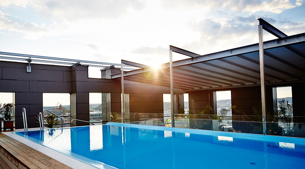 Large pool and an amazing views of the sunset from the rooftop at Post Hotel in Gothenburg
